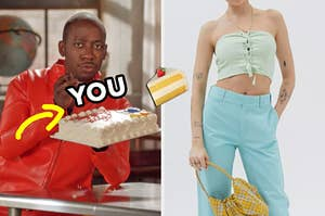"""On the left, Winston from """"New Girl"""" eating a sheet cake with an arrow pointing to the cake and """"you"""" typed on top of it, and on the right, someone wearing a tie tube top and high-waisted pants with a cake emoji in between the two images"""