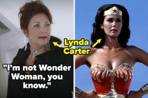 """Lynda Carter's character on Sky High says """"I'm not Wonder Woman, you know"""" — then there's a picture of her in Wonder Woman"""