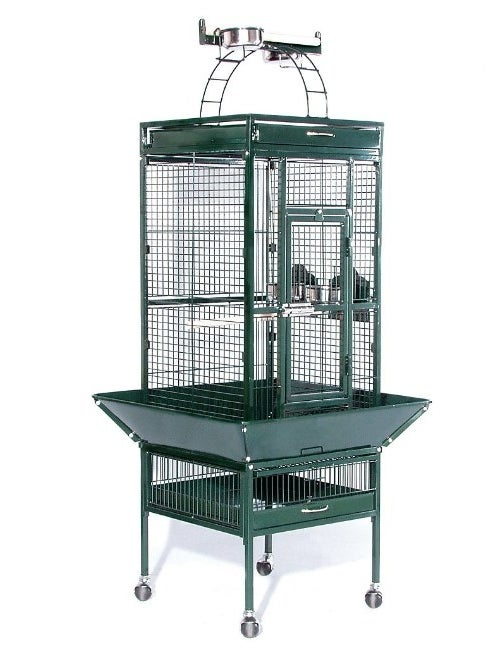 large green bird cage with wheels