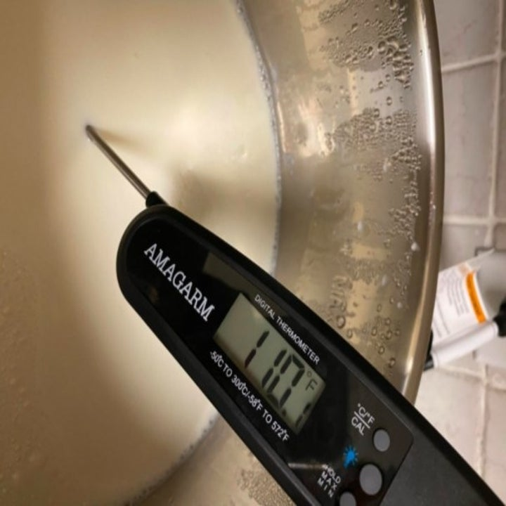 person using meat thermometer to test temperature of yogurt
