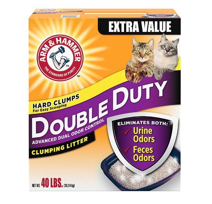 A box of Arm & Hammer cat litter