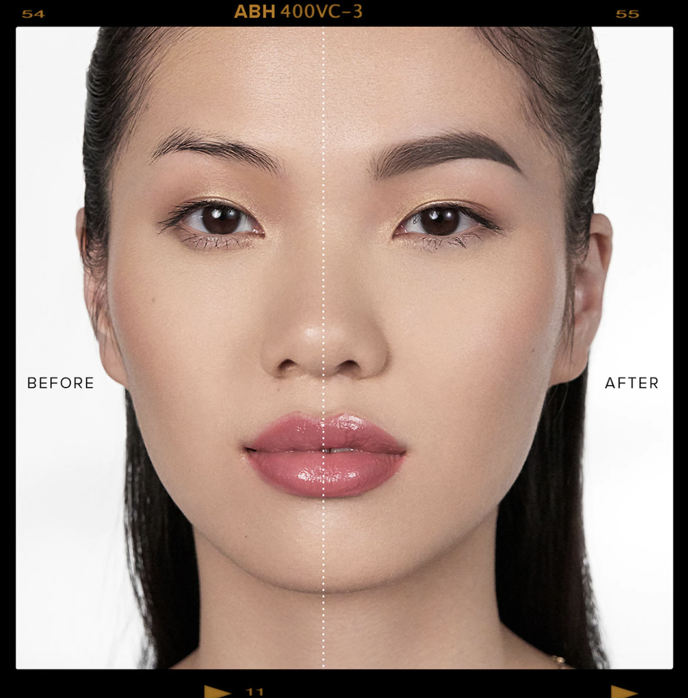 a before and after photo of a model which shows a more defined brow with product