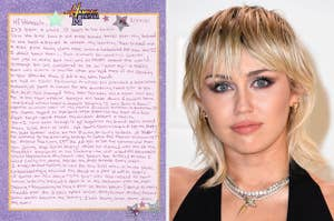 Miley's note to Hannah on Hannah Montana stationary and a picture of Miley Cyrus