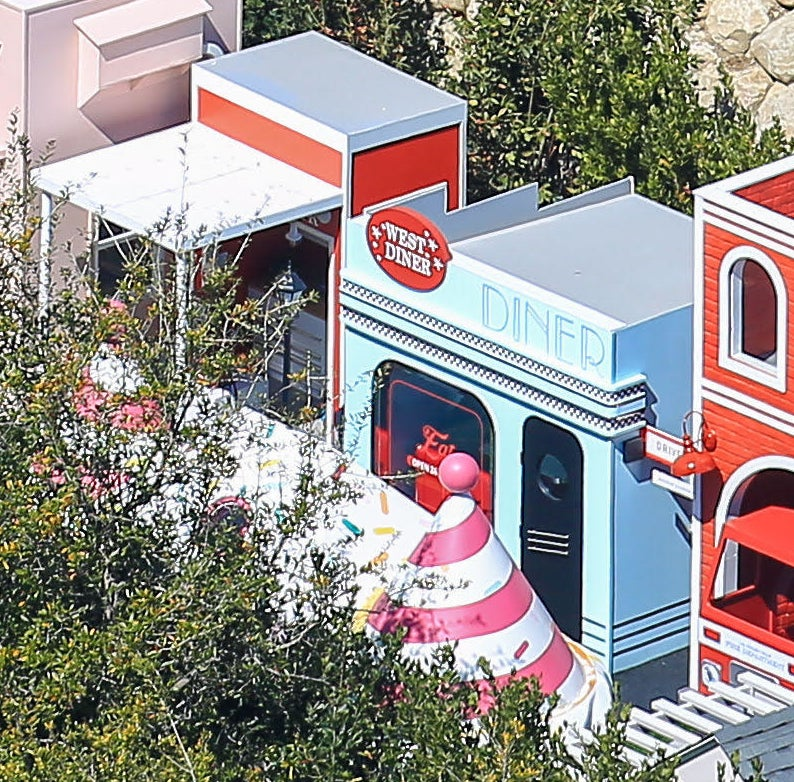The diner is painted to look retro