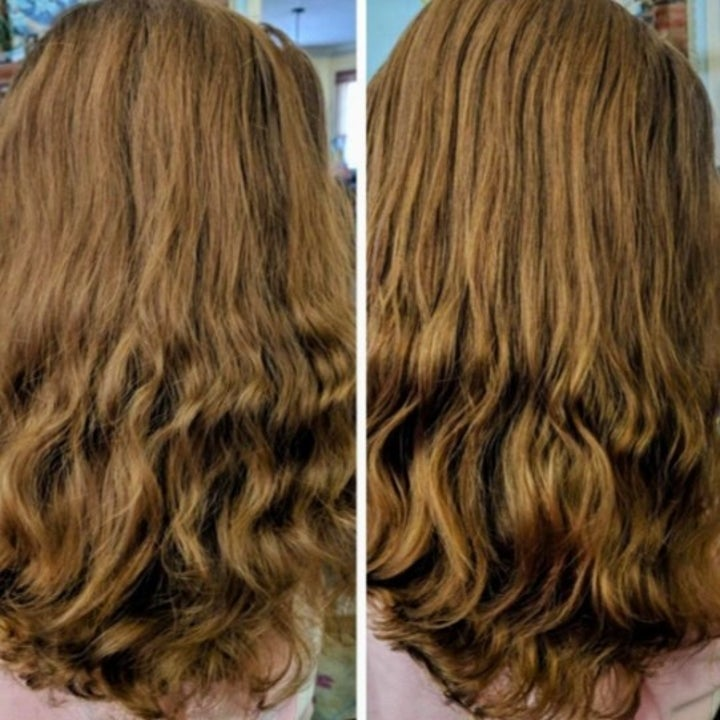 before and after photo of someone who used moroccanoil