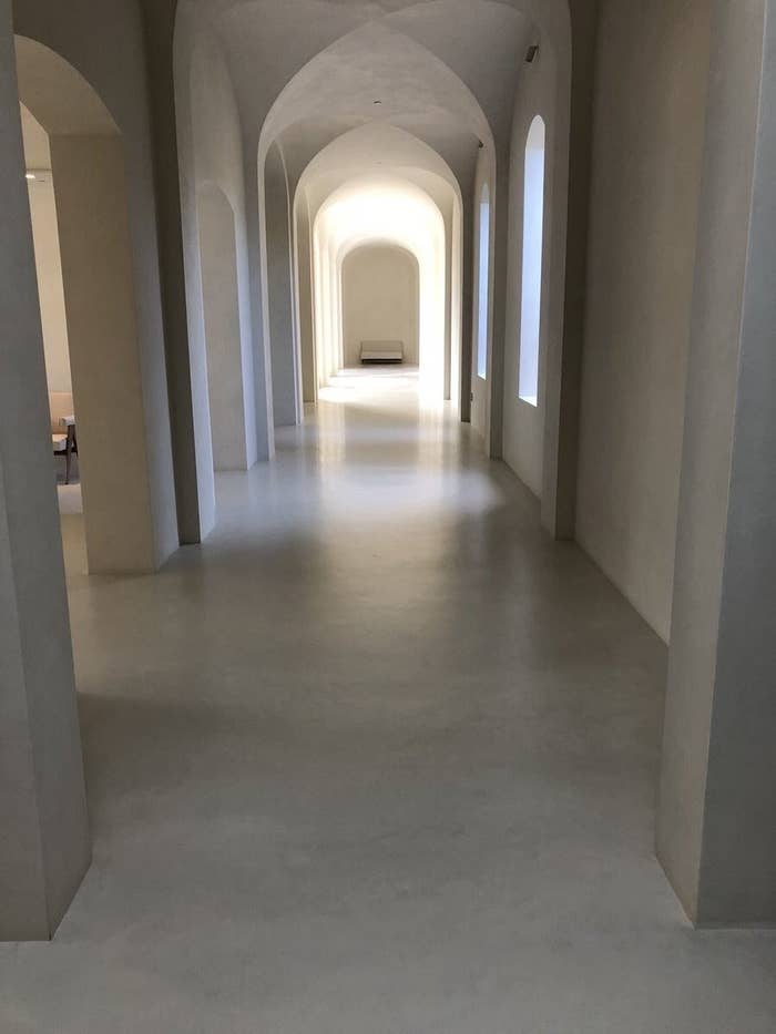 A long, white empty hallway