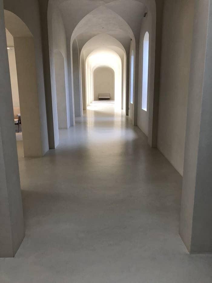 A long, white empty hallway