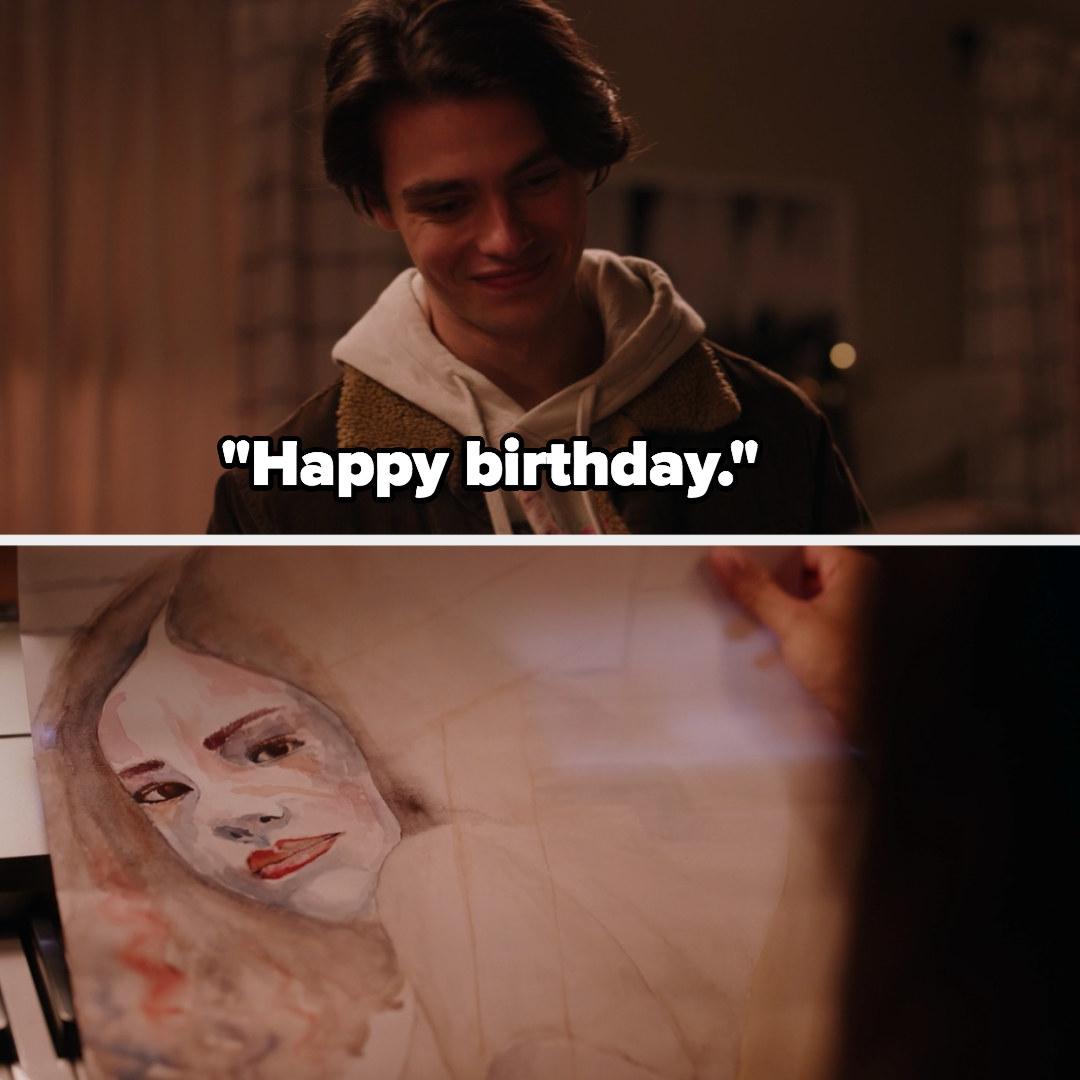 "Marcus hands Ginny painting, ""Happy birthday"""