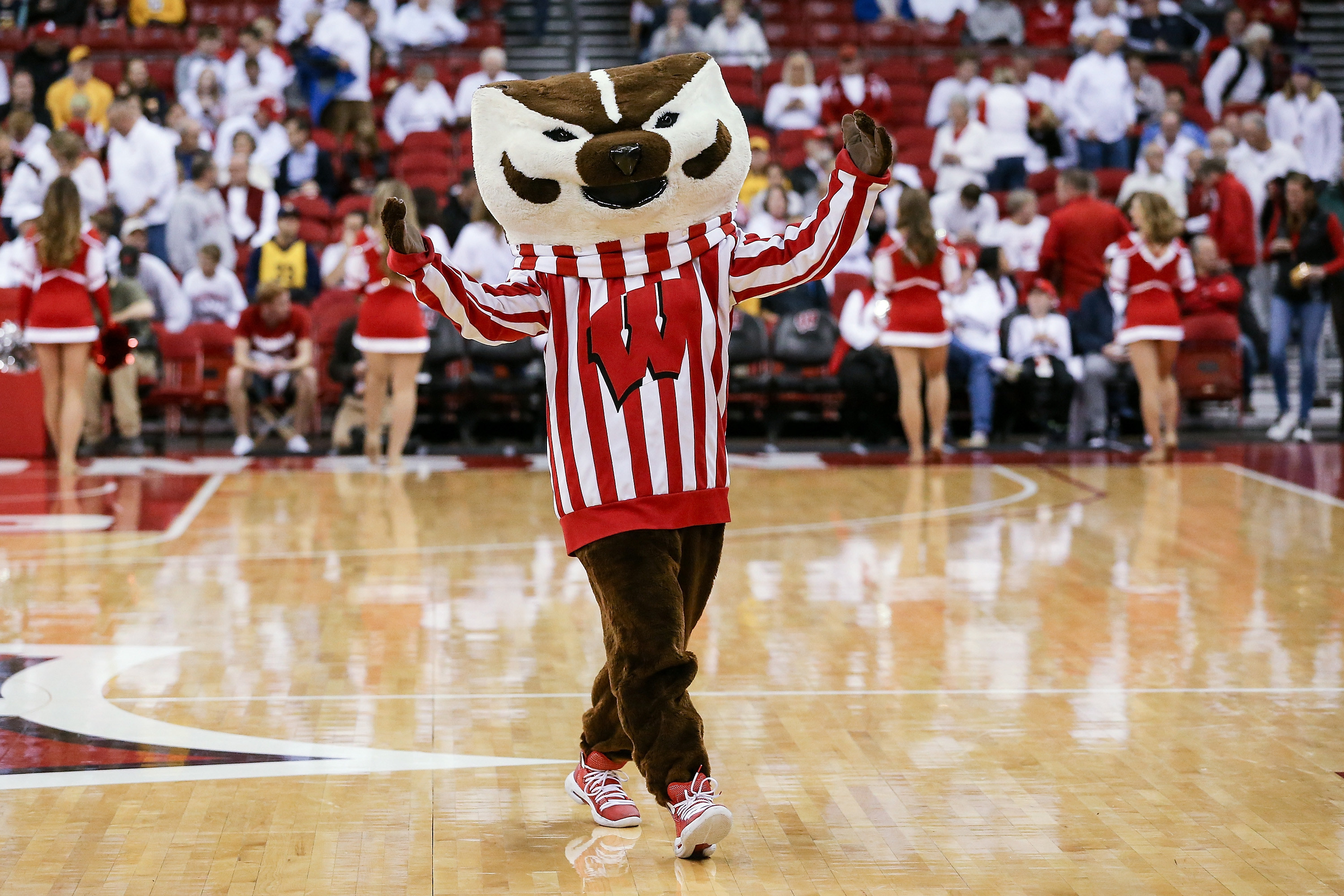Wisconsin Badgers mascot pumping up the crowd.