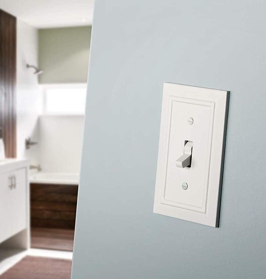 white single switchplate with beveled edge detail