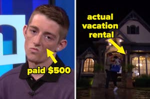 """a contestant on maury with the text """"paid $500"""" and madi's hometown home on the bachelor with the text actual vacation rental"""""""