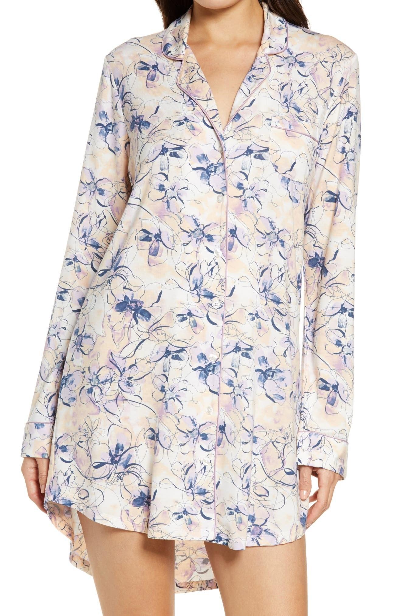 model wearing watercolor floral long-sleeve nightshirt