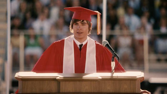 Troy delivering a graduation speech