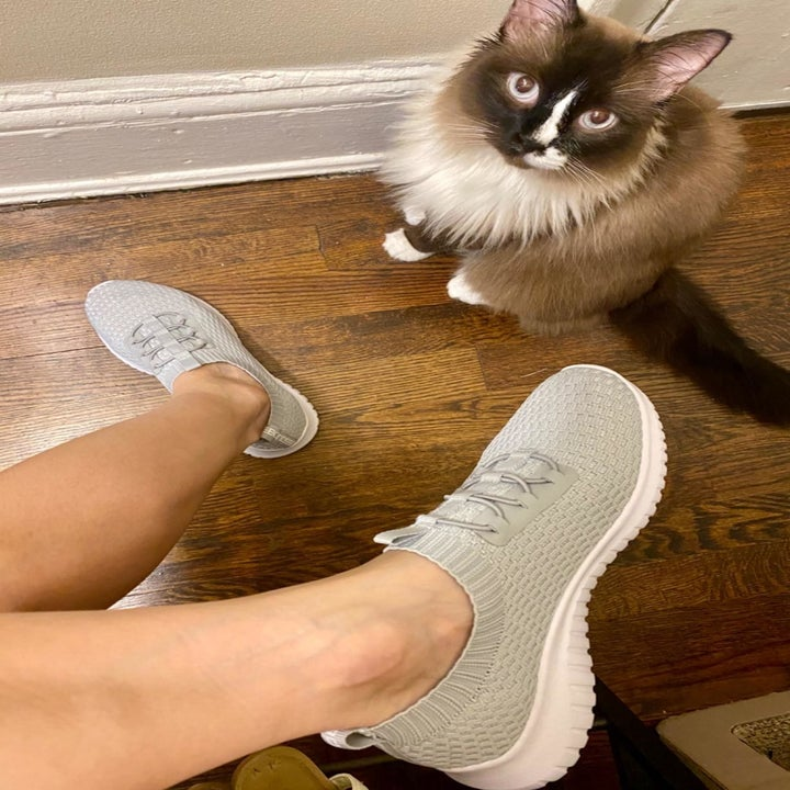 reviewer wearing same sneakers while relaxing with kitty indoors