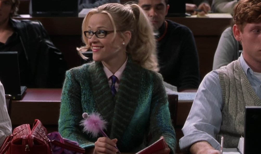 Elle Woods sitting in the front row of her first law class