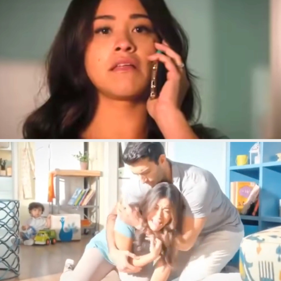 Jane learns Michael is dead on the phone, then screams and falls down, Rafael holding her