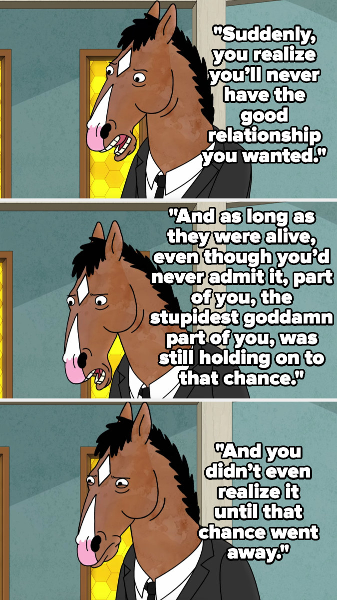 Bojack talks about how when someone toxic in your family dies, you realize you'll never have the relationship you wanted, and as long as they were alive, some stupid part of you still hoped for that, and you didn't realize it until they died