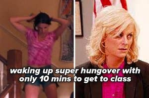 """Woman running down the stairs getting ready next to a woman who looks tired with messy hair and the caption """"waking up super hungover with only 10 mins to get to class"""""""