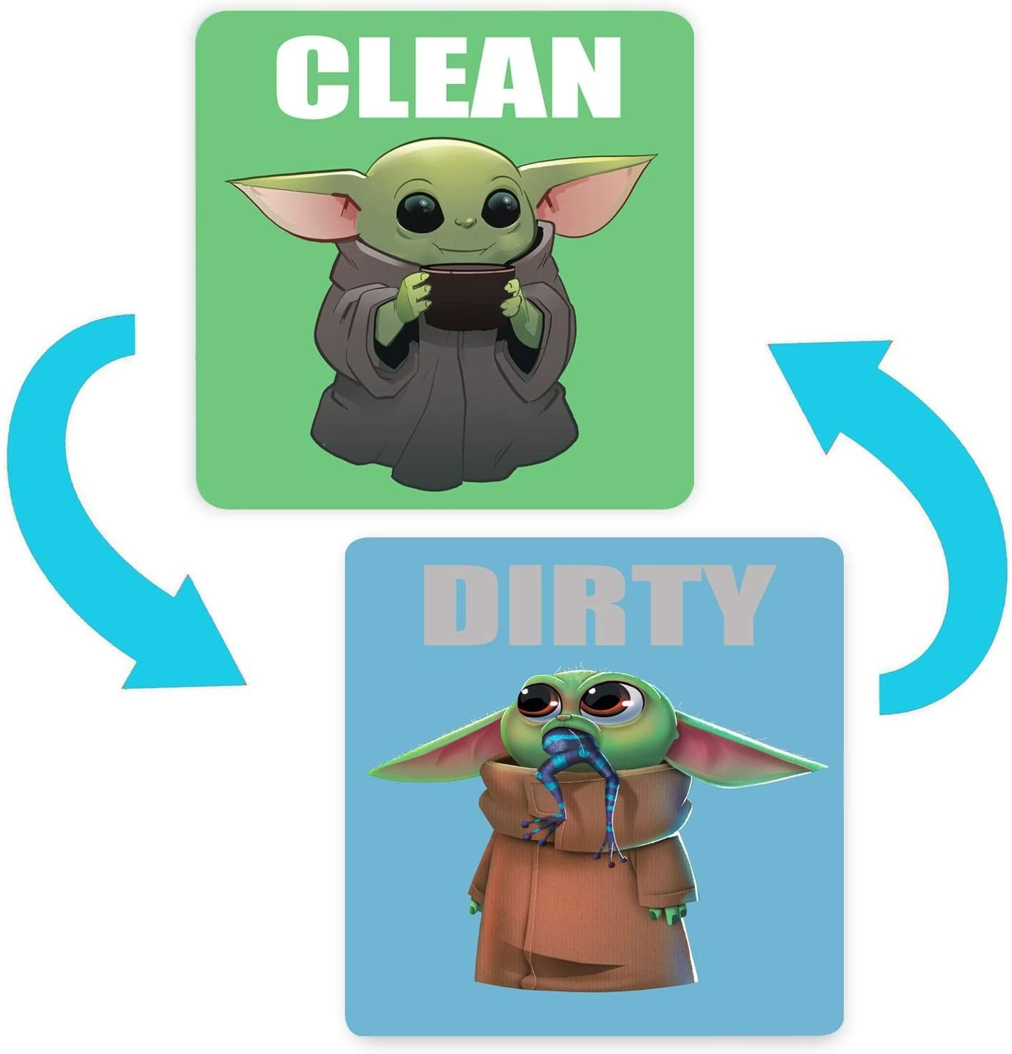 dirty side of the magnet with Baby Yoda eating a frog, clean side of Baby Yoda drinking soup