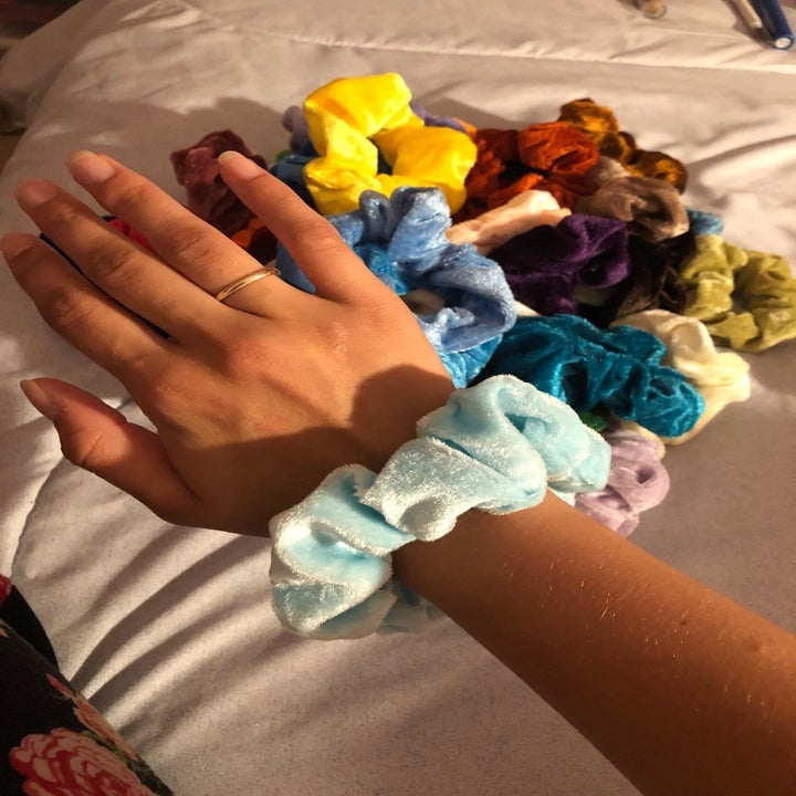 a person wearing one of the scrunchies