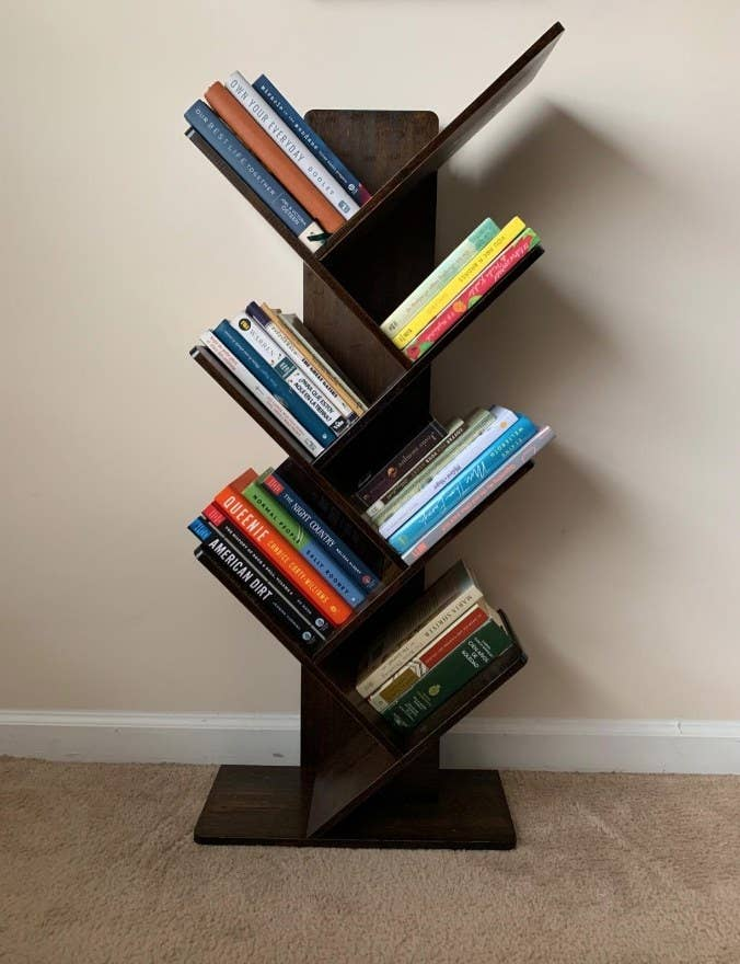 angled bookcase in reviewer's home