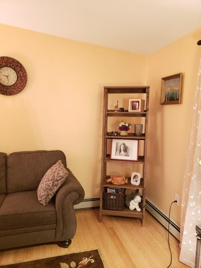 tall wooden bookcase in a reviewer's home