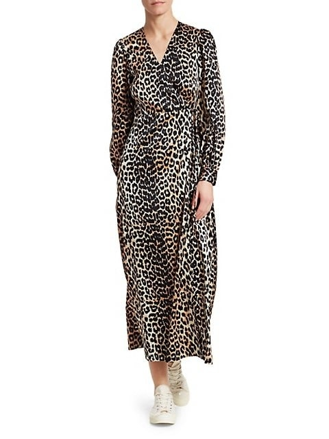 Brown and tan wrap dress with black leopard spots