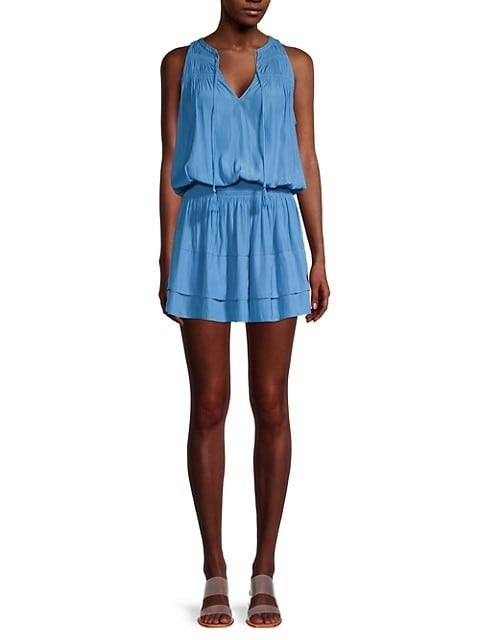 Blue polyester sleeveless mini-dress with pleated skirt
