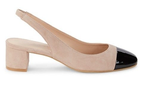 Tan suede with black patent leather toe slingback heels