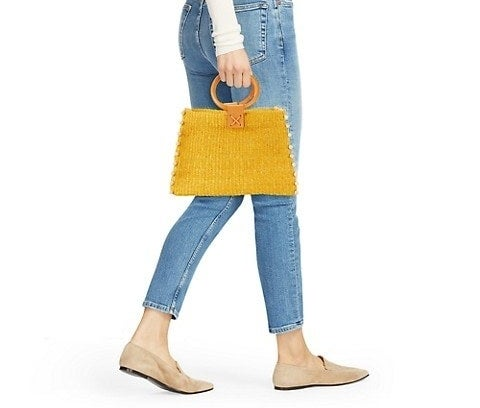 Tote with bead detailing and open top