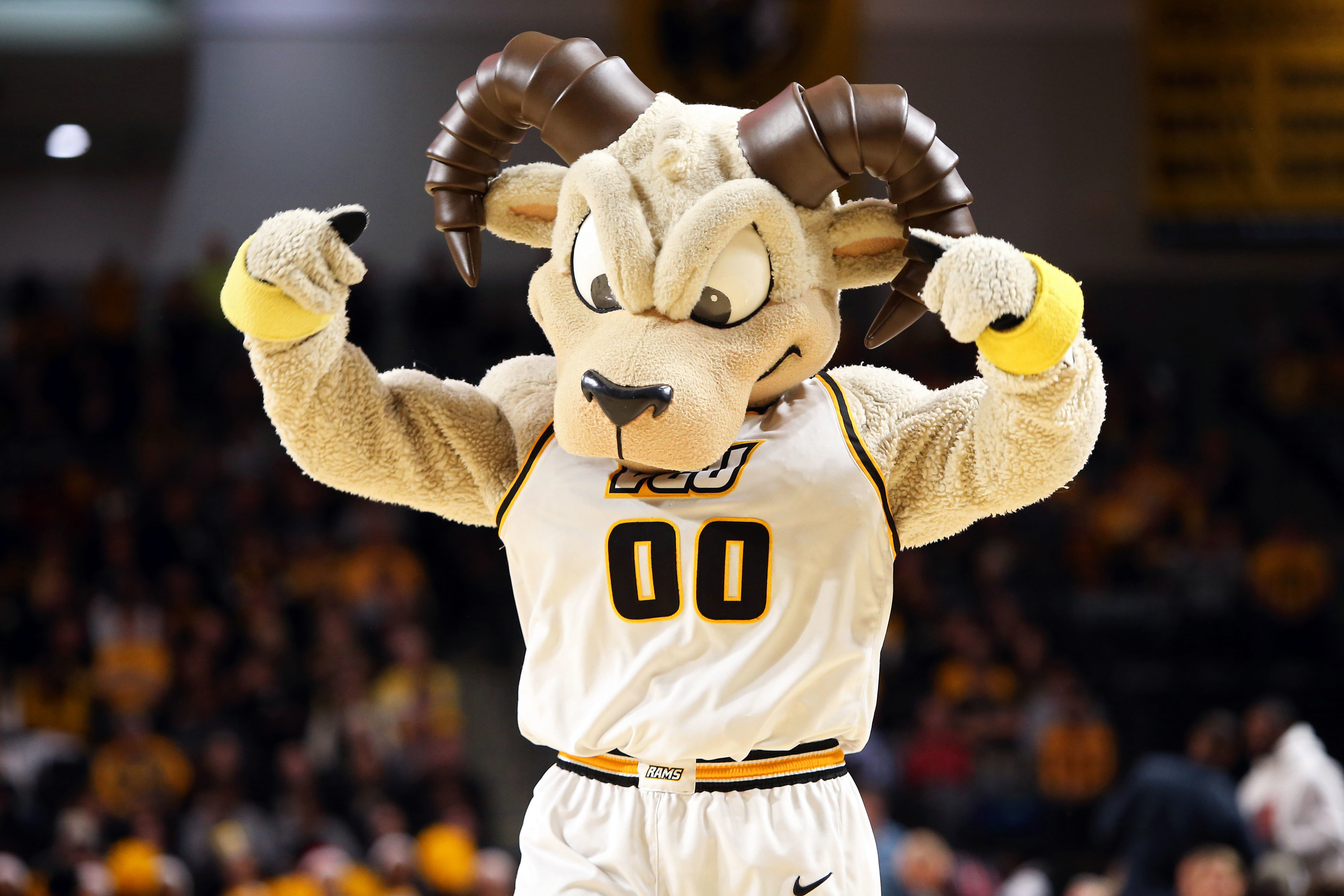 Angry-looking ram mascot in a white uniform.