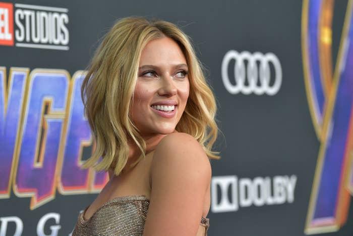 Scarlett Johansson smiling at a press event