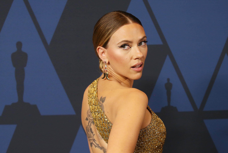 Johansson looking over her shoulder