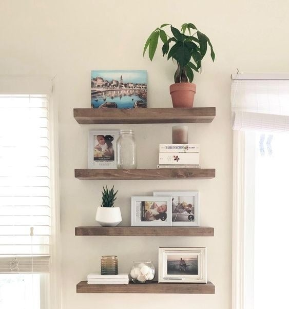 Reviewer's picture of the wooden wall shelves