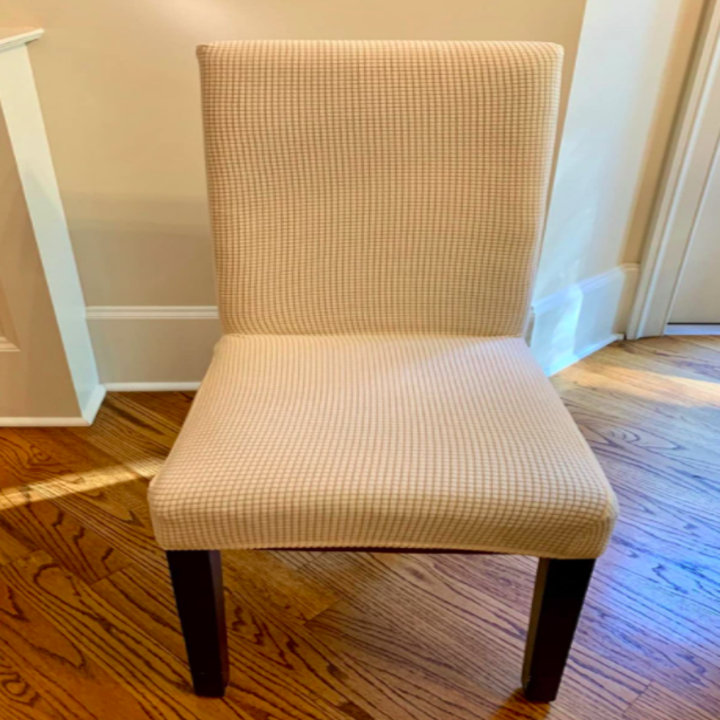 Reviewer's after of the now fabric-covered new looking chair