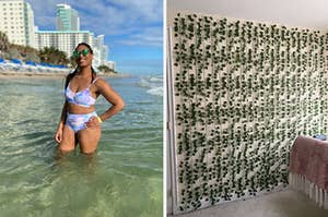 bikini on the left and ivy hanging up on the right