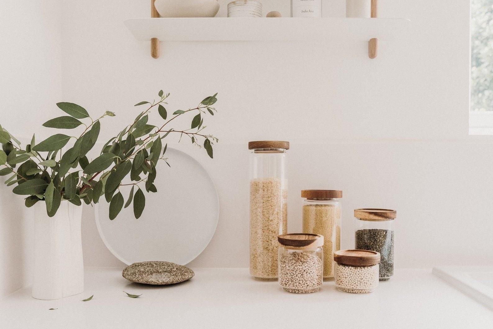 eco glass jars with ingredients inside them