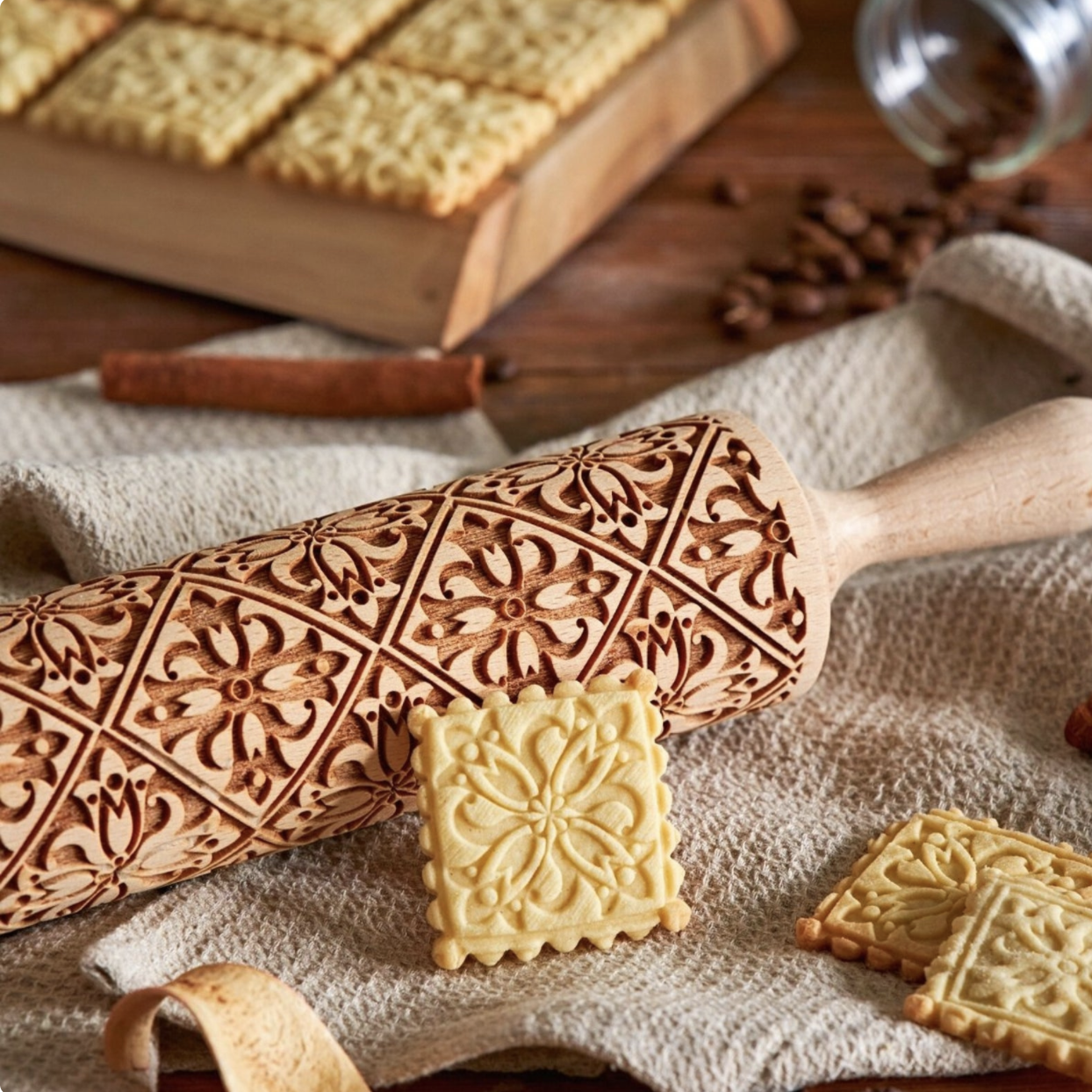 Mosaic rolling pin and decorative shortbread cookies