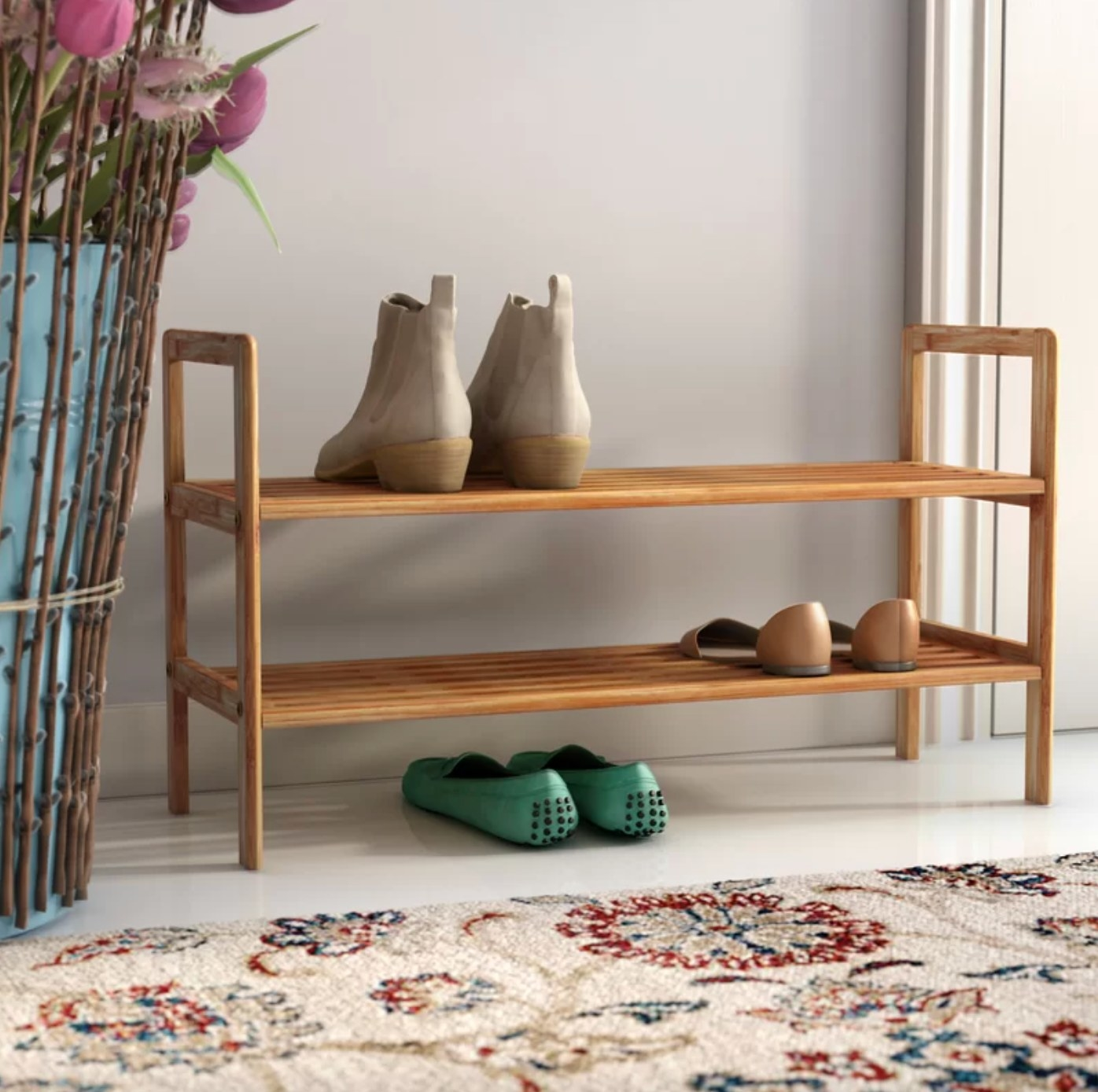 The two-tier shoe rack