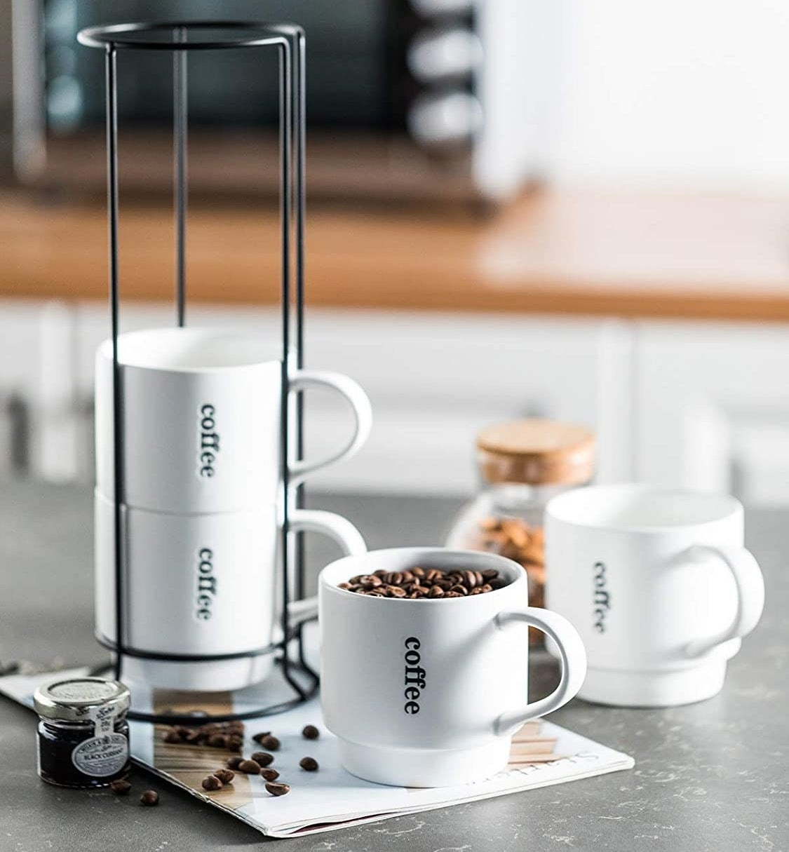 the white stackable cups