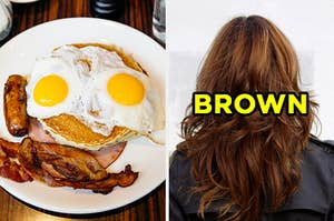"""On the left, a plate with pancakes, fried eggs, sausage, and bacon, and on the right, the back of someone's head labeled """"brown"""""""