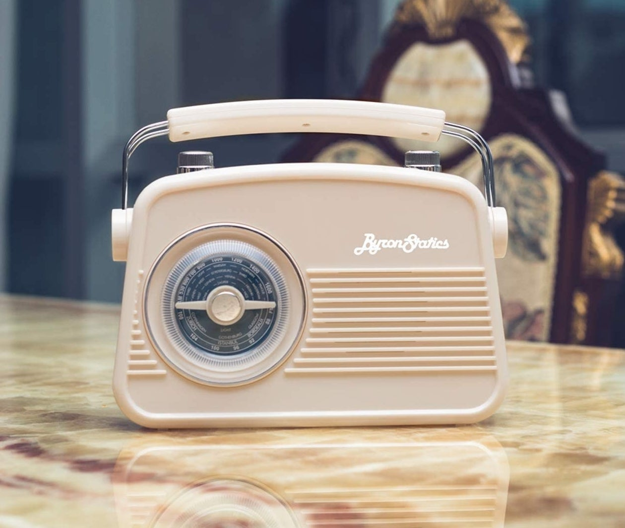 the almond colored radio