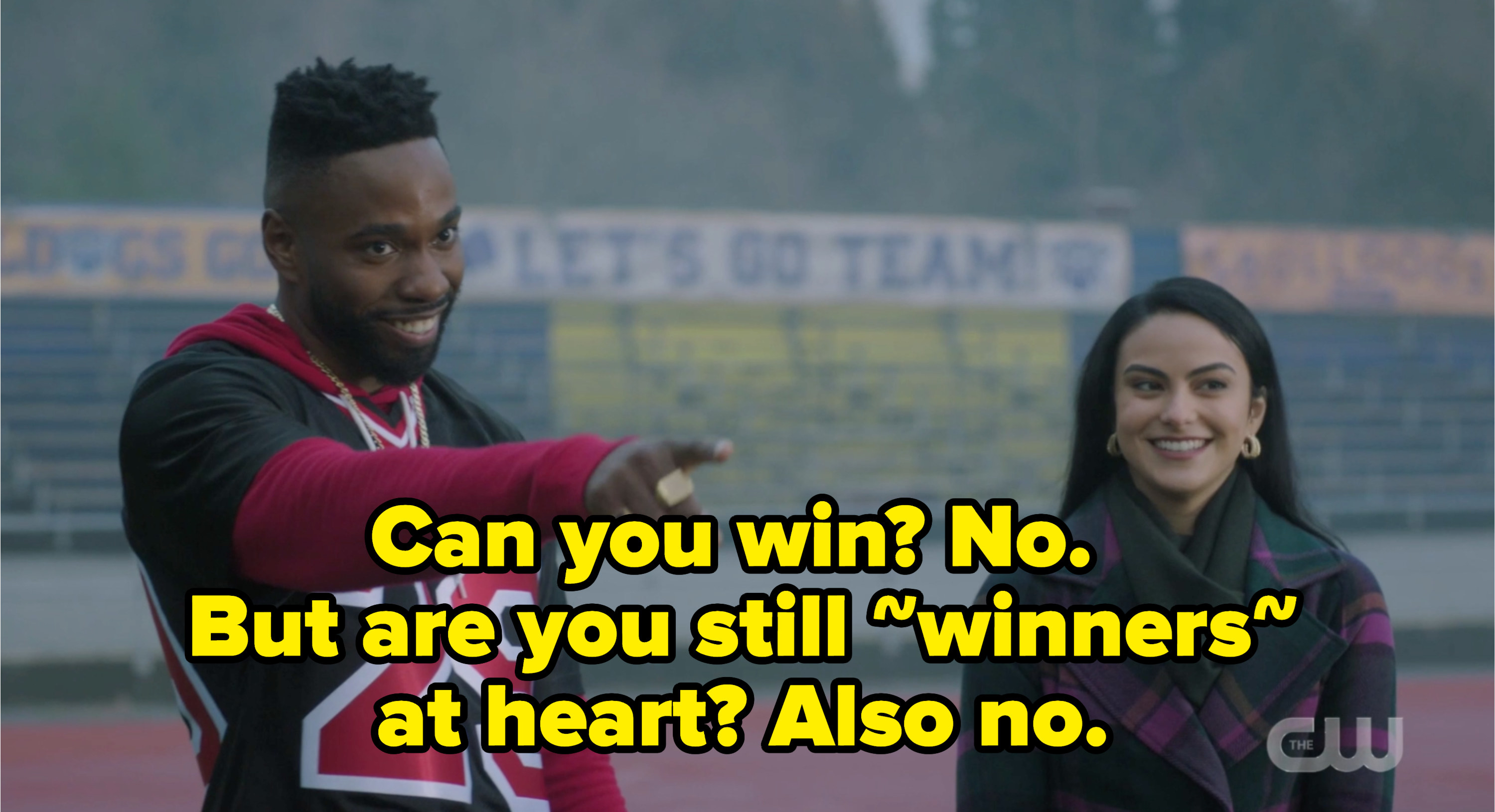 """Veronica and T Dub with the caption """"Can you win? no. But are you still winners at heart? also no."""""""