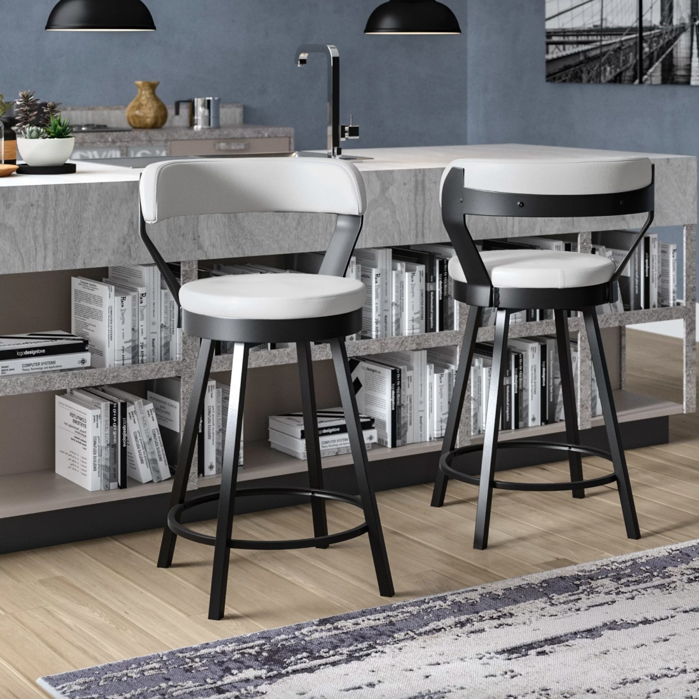 The bar stools with white seats