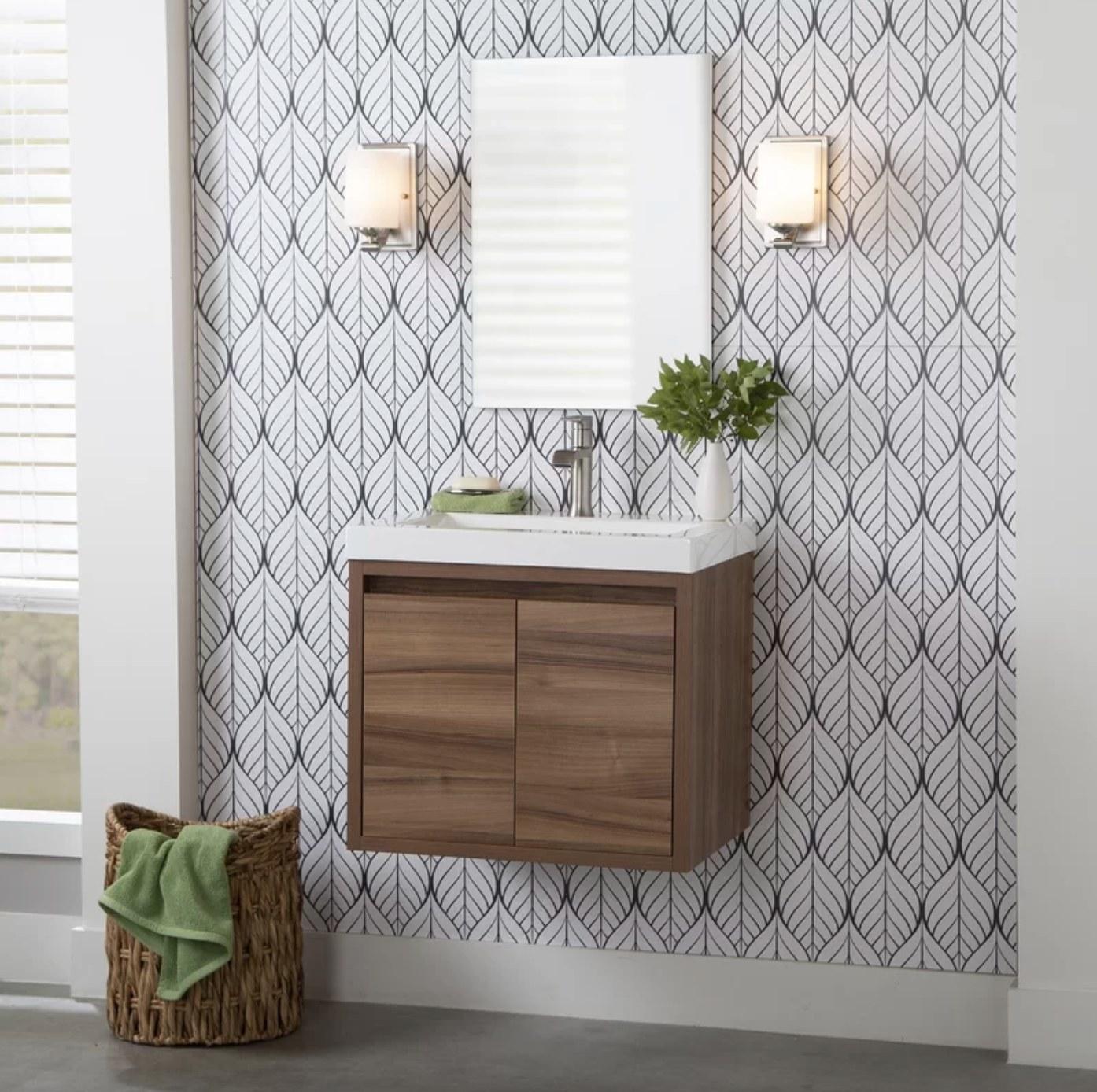 The wall mount single vanity bathroom set in caramel