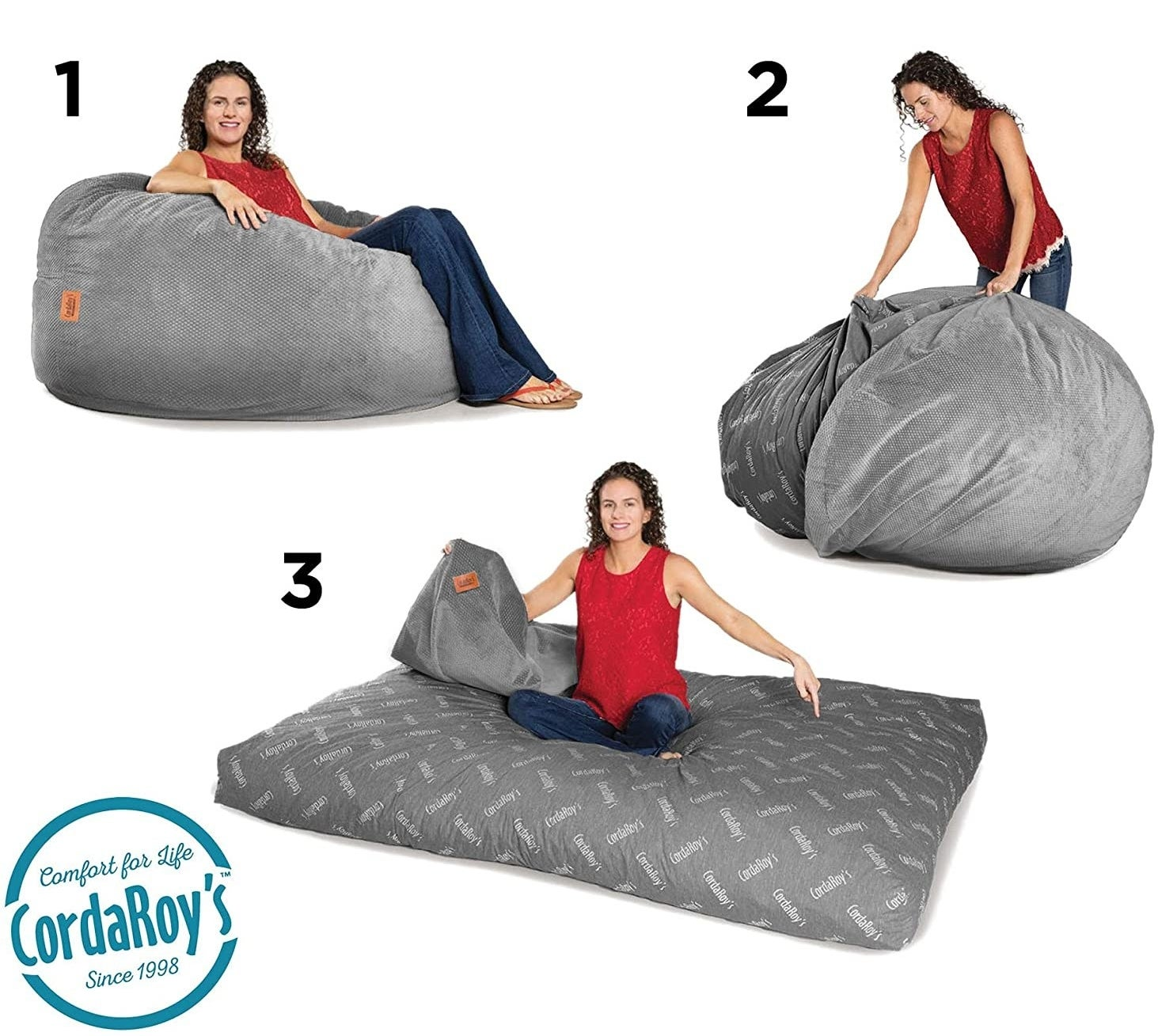 Model showing how to turn the beanbag chair into a bed