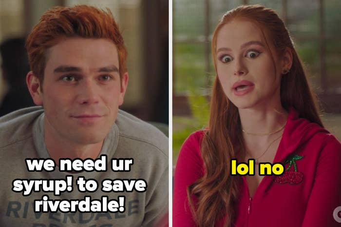 Archie saying we need ur syrup to save riverdale with cheryl saying lol no