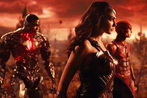 Ray Fisher as Cyborg, Gal Gadot as Wonder Woman, Ezra Miller as The Flash, Jason Momoa as Aquaman