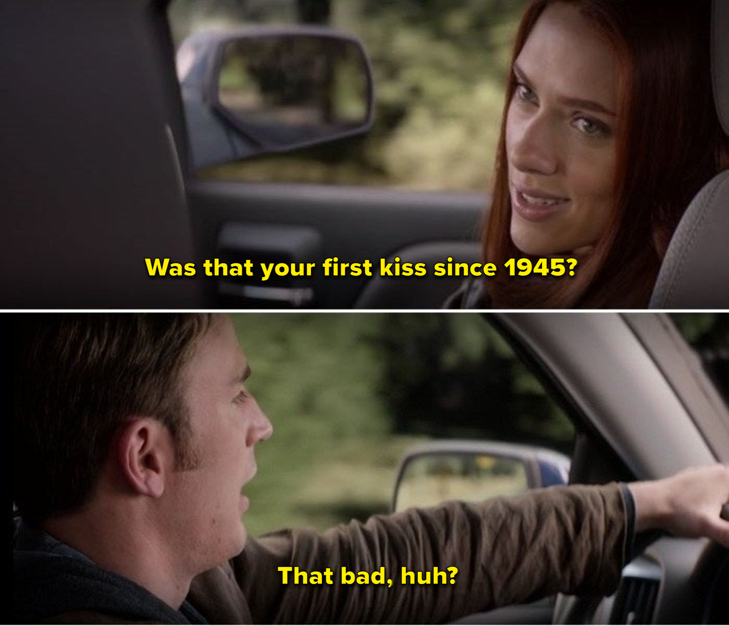Natasha asks Steve if it was his first kiss since 1945