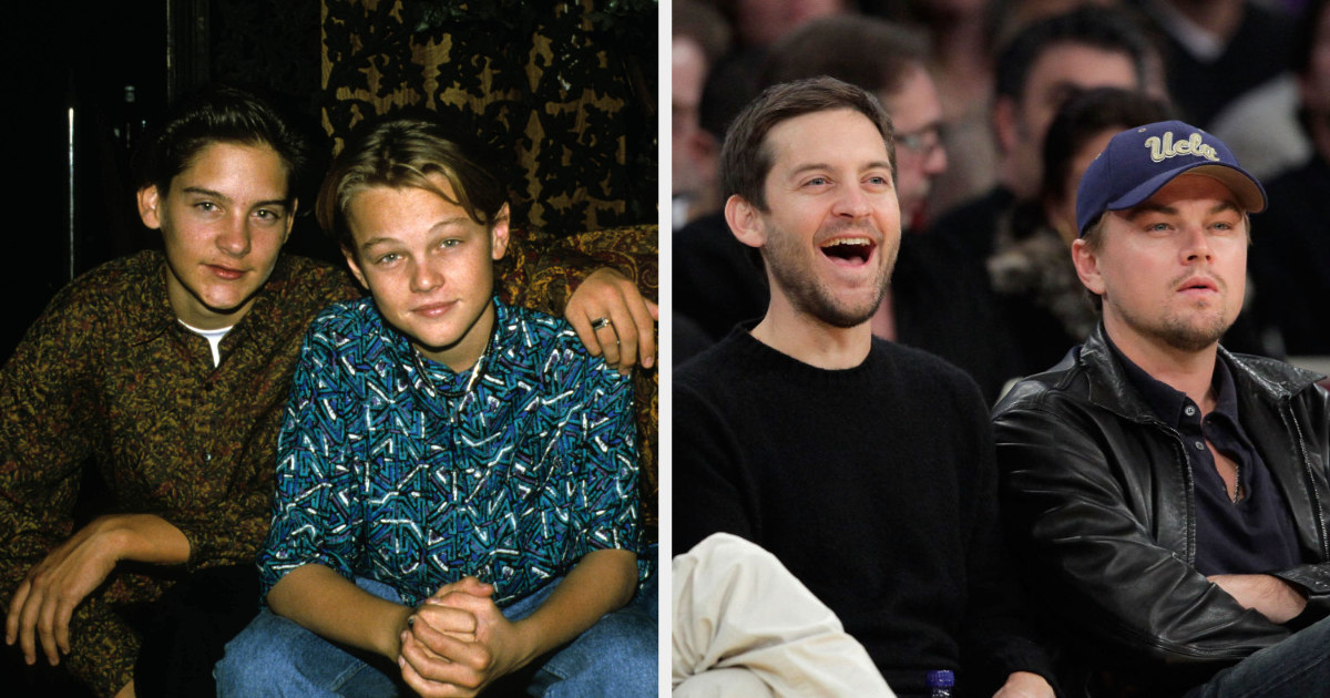 Tobey and Leo as children next to a picture of them as adults